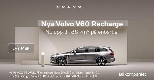 Volvo V60 Recharge laddhybrid nu upp till 88 km på enbart el.