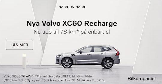 Nya Volvo XC60 Recharge Laddhybrid upp till 78 km på enbart el.